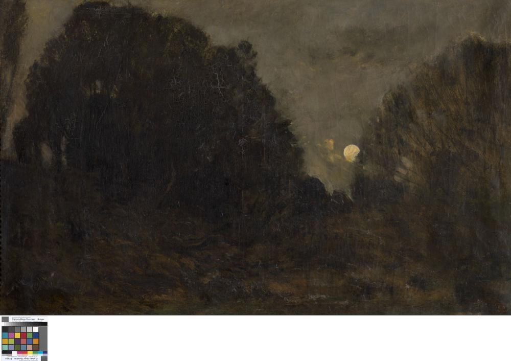 The moon rising in Barbizon.