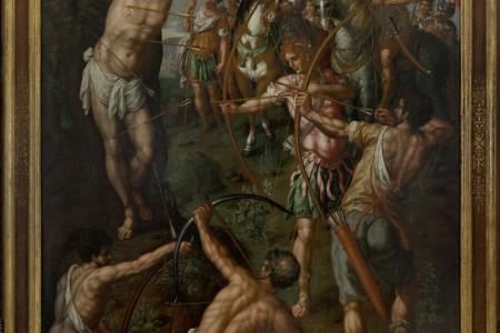 image of painting by Hendrick De Clercq called the martyrdom of saint sebastian