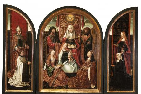 A Canon with Saint Livinus (left wing)  The Family of Saint Anne (centre panel)  Donor with Saint Elizabeth (right wing)  The Annunciation (closed)