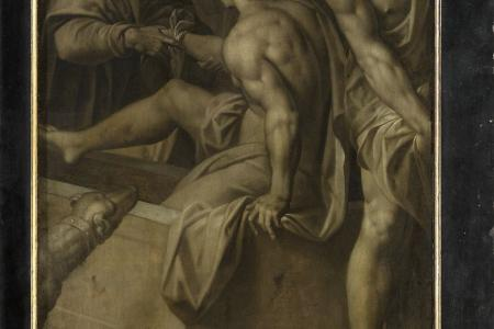 The Raising of Lazarus (closed outer panels  grisaille)